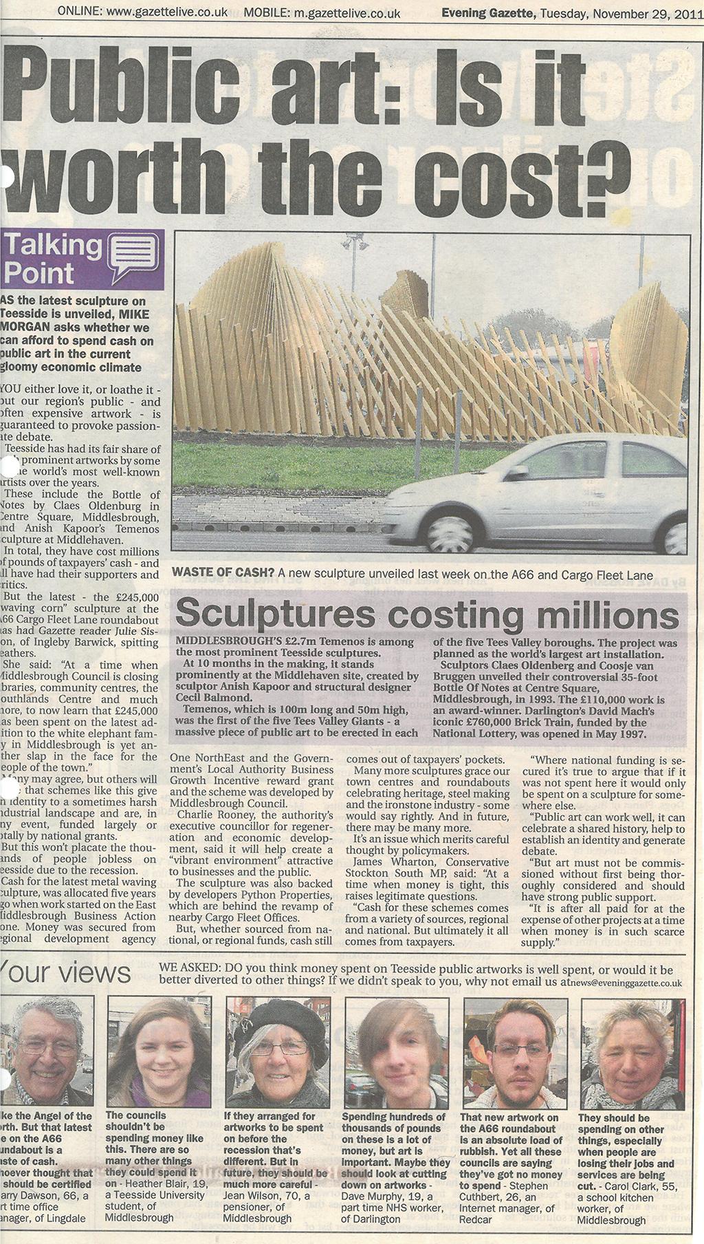 2011-11-29, Evening Gazette1