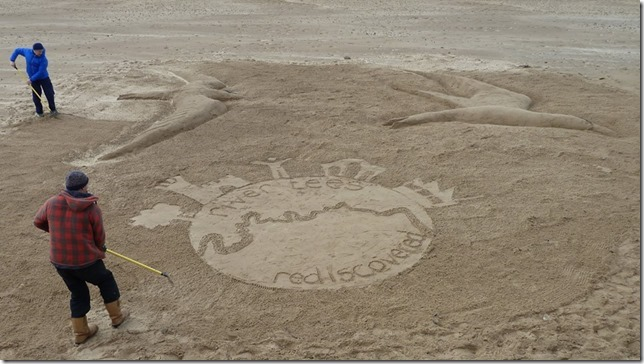 RTR logo in sand at Redcar