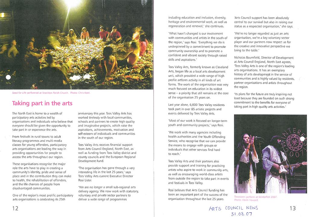 2007-08-31, arts council news