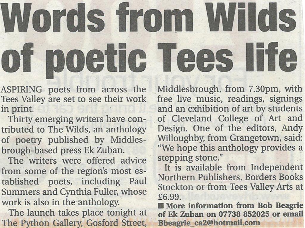 2007-10-04, evening gazette, words from wilds